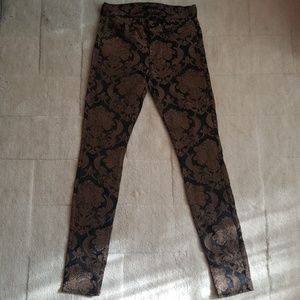 7 for All Mankind Black Gold Brocade Skinny Pant
